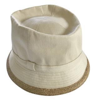 Hermes Linen Bucket Hat with Raffia Trim