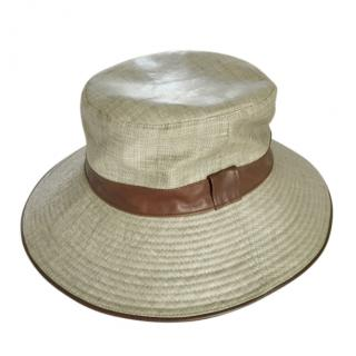 Hermes Linen Hat with Brown Leather Trim