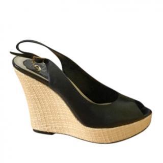 Dior Leather & Raffia Peep-Toe Wedge Sandals