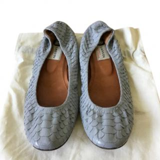 Lanvin Gray-Blue Snakeskin Ballerina Flats