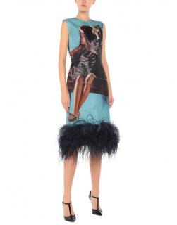 Prada Blue Poster Girl Feather Trim Midi Dress