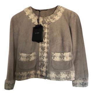 Dolce & Gabbana Lambskin & Tweed Short Jacket