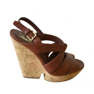 Saint Laurent Tan Leather Cork Wedge Sandals