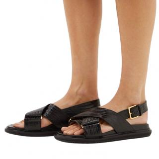 Marni Black Leather Crossover Sandals