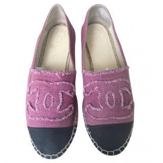 Chanel Pink & Black Denim CC Espadrilles