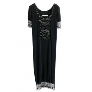 Dior by John Galliano Black Eyelet Embellished Dress