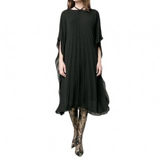 Balenciaga Black Pleated Flowy Dress
