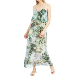 Max Mara Green Printed silk georgette dress