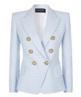 Balmain Pale Blue Embroidered Tweed Jacket