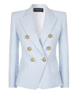 Balmain Pale Blue Embroidered Tweed Jacket