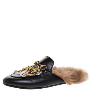 Gucci Embroidered Fur lined Princetown Loafers