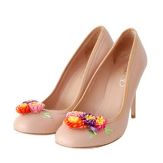 Red Valentino floral detail blush pumps
