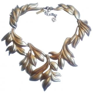 Oscar De La Renta Gold Plated Runway Leaf Necklace