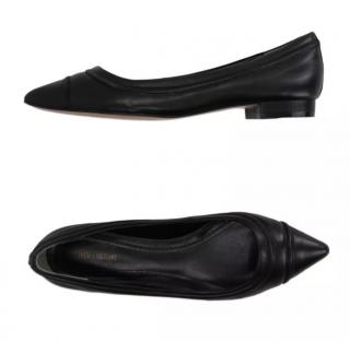 Pour La Victoire Black Leather Pointed Toe Ballerinas