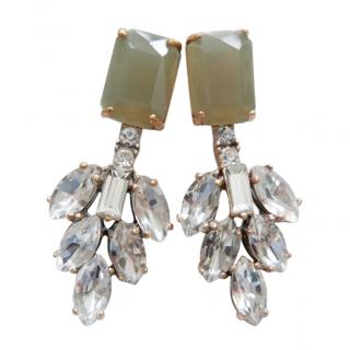 J Crew Crystal Leaf Earrings