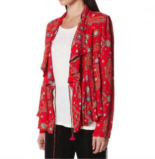 Tigerlily Gypsy Print Red Wrap Top