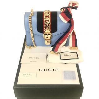 Gucci Sky Blue Sylvie Mini Web Bag