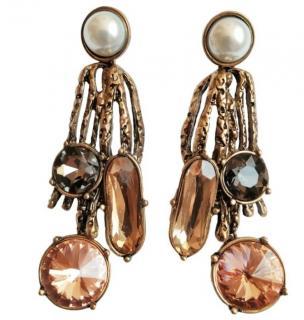Oscar De La Renta Pearl & Crystal Drop Earrings