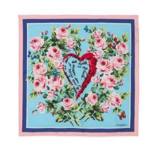 Dolce & Gabbana Floral Heart Printed Silk Scarf