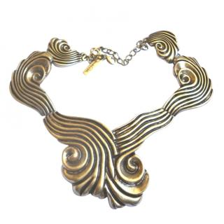 Oscar De La Renta Gold Tone Coquillage Spiral Necklace