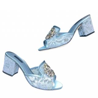 Dolce & Gabbana Crystal Embellished Blue Lace Mules