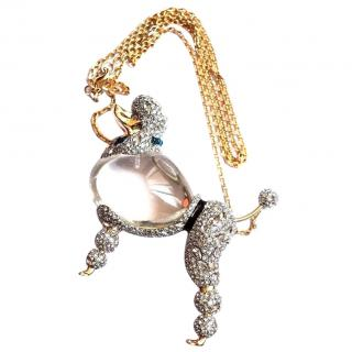 Alexis Bittar Lucite & Crystal Poodle Pendant Necklace