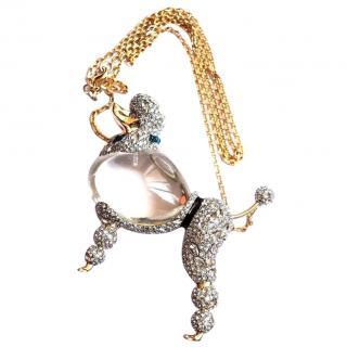 Alexis Bittar Lucite & Crystal Poodle Pendant Necklace