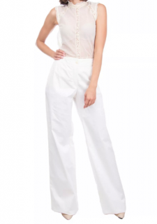 Armani Collezioni Ivory Flared High Waist Pants