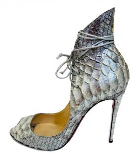 Christian Louboutin Silver Python Leather Lace-Up Pumps