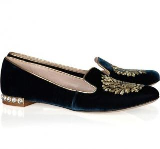 Miu Miu Embroidered velvet-covered leather loafers