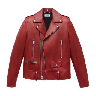 Saint Laurent Red Lambskin Leather Jacket