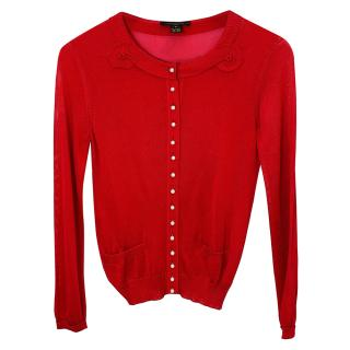 Louis Vuitton Silk Raspberry Cardigan
