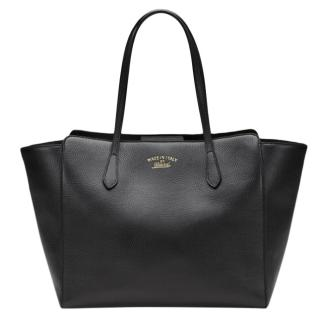 Gucci Black Leather Swing Tote Bag