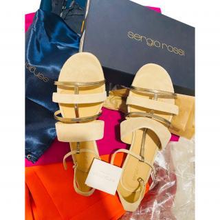 Sergio Rossi Leather T-Strap Sandals
