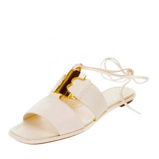 Tory Burch White Leather Sandals