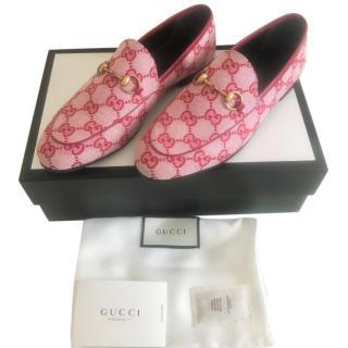 Gucci Hibiscus Red Monogram Jordaan Loafers