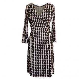 Diane von Furstenburg Black & White Silk Wrap Dress