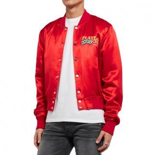 Amiri Red Leather-Appliqu�d Satin Bomber Jacket