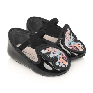 Sophia Webster Mini Baby Black Patent Pre Walkers