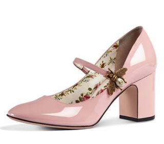 Gucci Pink Lois Bee Patent Mary Jane Pumps 75