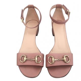 Gucci Pink Horsebit Sandals