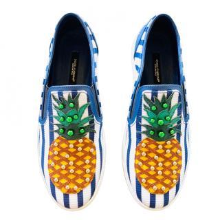 Dolce & Gabbana Studded Striped Pineapple Slip-On Sneakers