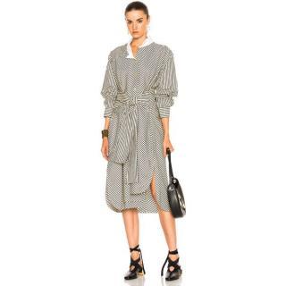 Loewe Asymmetric Striped Midi Shirt Dress
