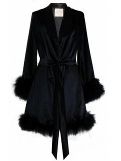 Maguy De Chadirac Black Marabou Feather Trim Robe
