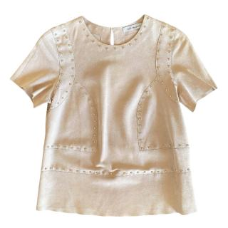 Yves Salomon Suede Studded T-Shirt