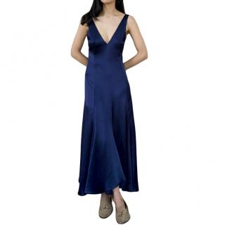 Catherine Quinn Satin Almodavar Midnight Blue Dress