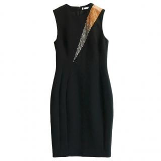 Versace Collection Stretch Crepe Crystal Trim Dress