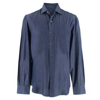 Berluti Men's Blue-Denim Look Shirt