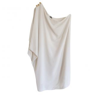 Fendi White Draped One Shoulder Dress