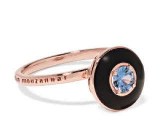 Selim Mouzannar Mina 18-Karat Rose Gold, Enamel And Sapphire Ring